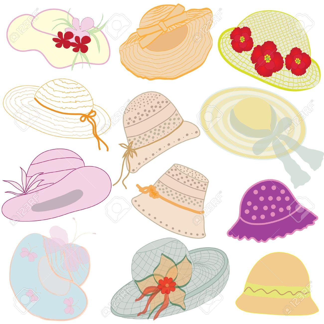 Colección De Sombreros De Mujer Ilustraciones Vectoriales f114eee76ba