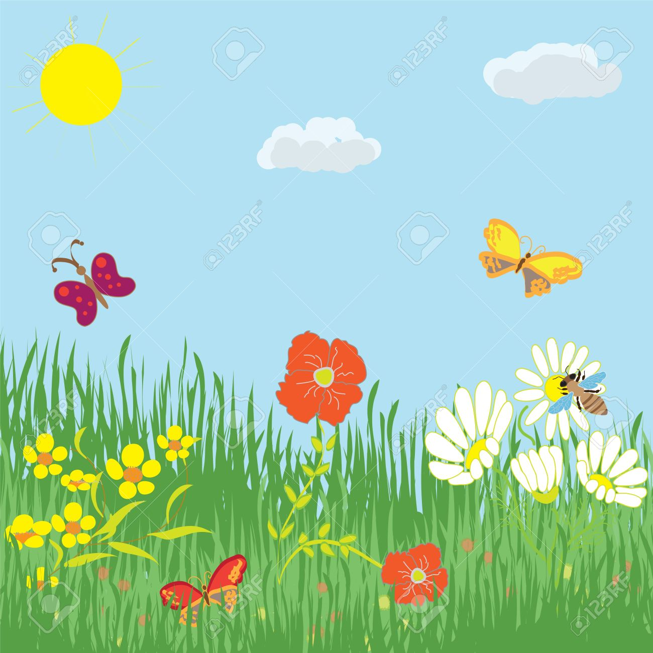 Image result for summer flowers cartoon images