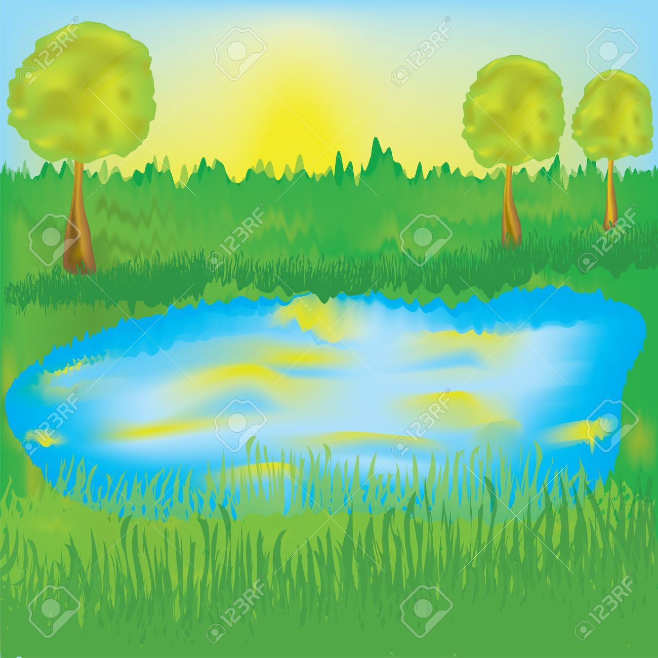 Landscape with lake, sunrise, meadow,trees Stock Vector - 9465441