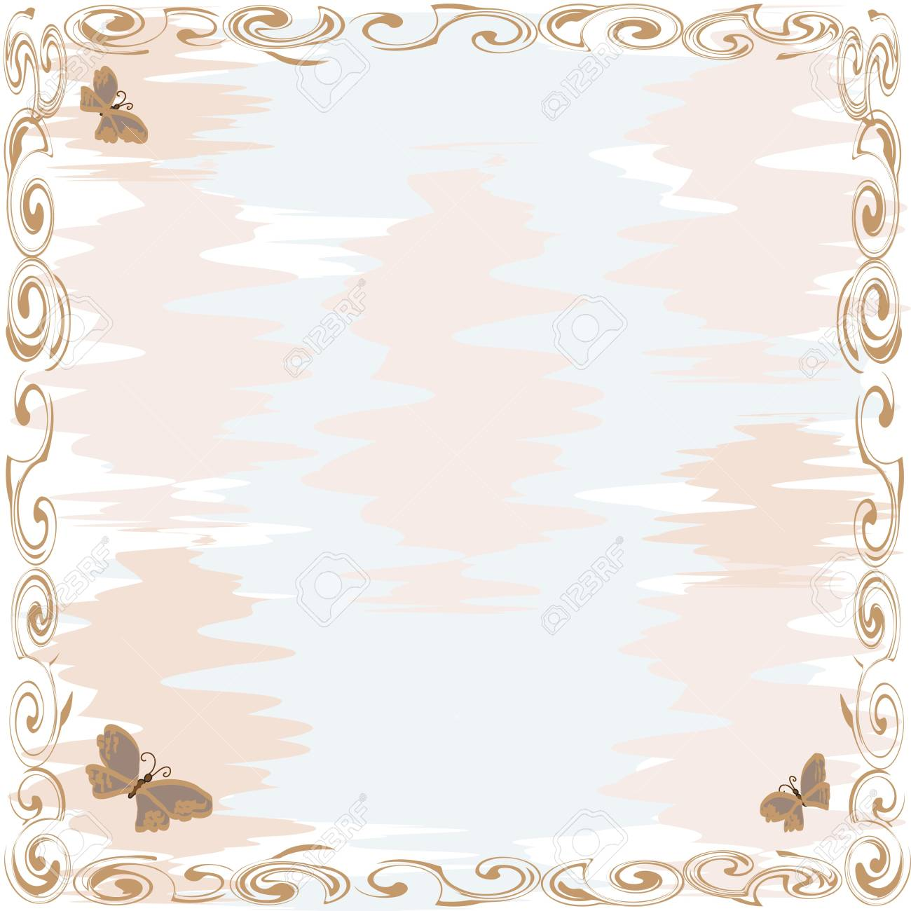 Abstract background with ornamental border and butterfly Stock Vector - 9496352