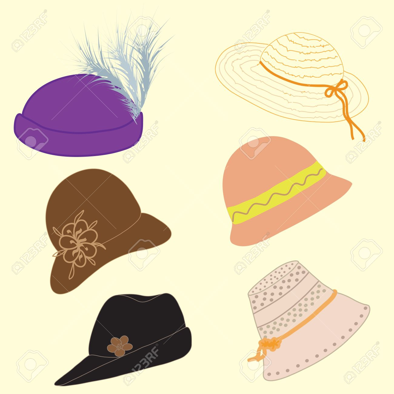 Set of woman hats Stock Vector - 9496351 122657485698