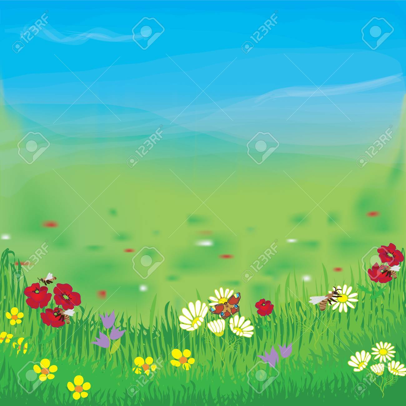 Panoramic landscape with meadow, grass, flowers,cloudy sky and fog Stock Vector - 11918387