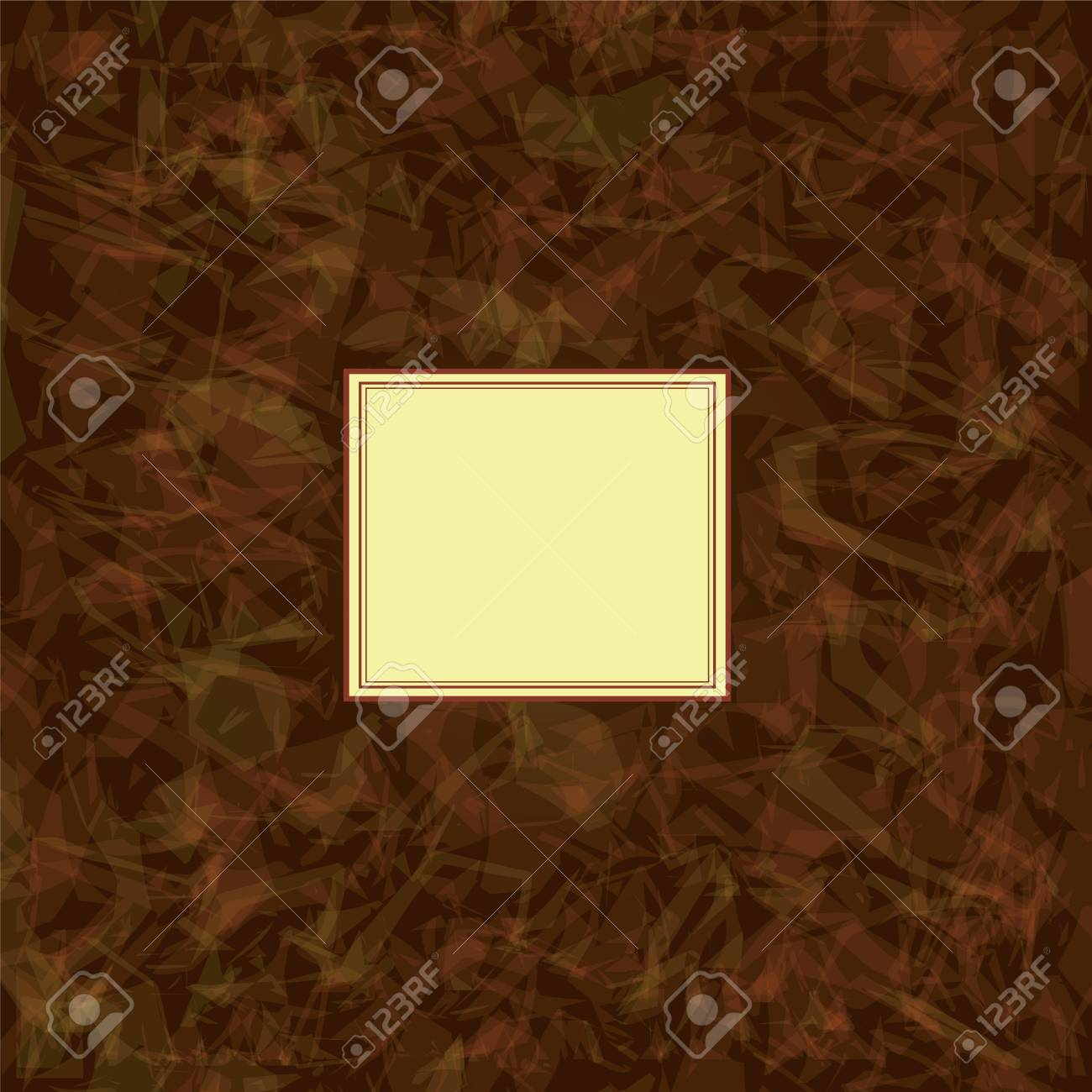 Invitation square card on grunge brown watercolor background Stock Vector - 13214935