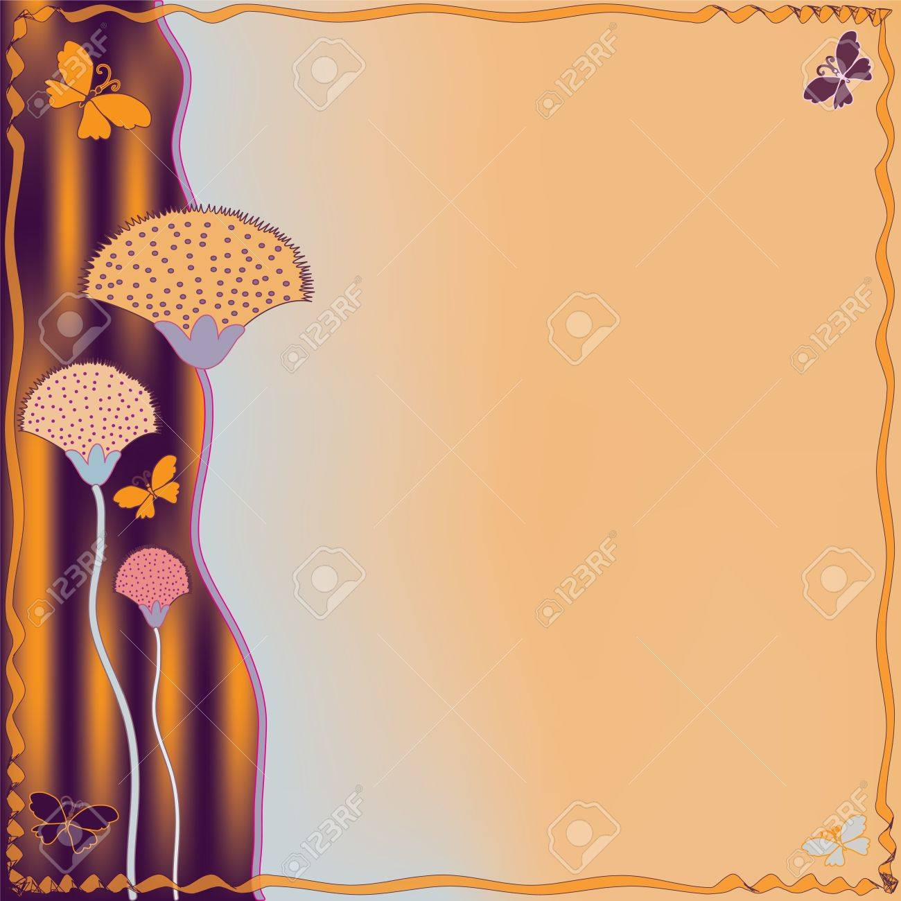 Invitation grunge striped card with abstract flowers and butterflies Stock Vector - 13439274