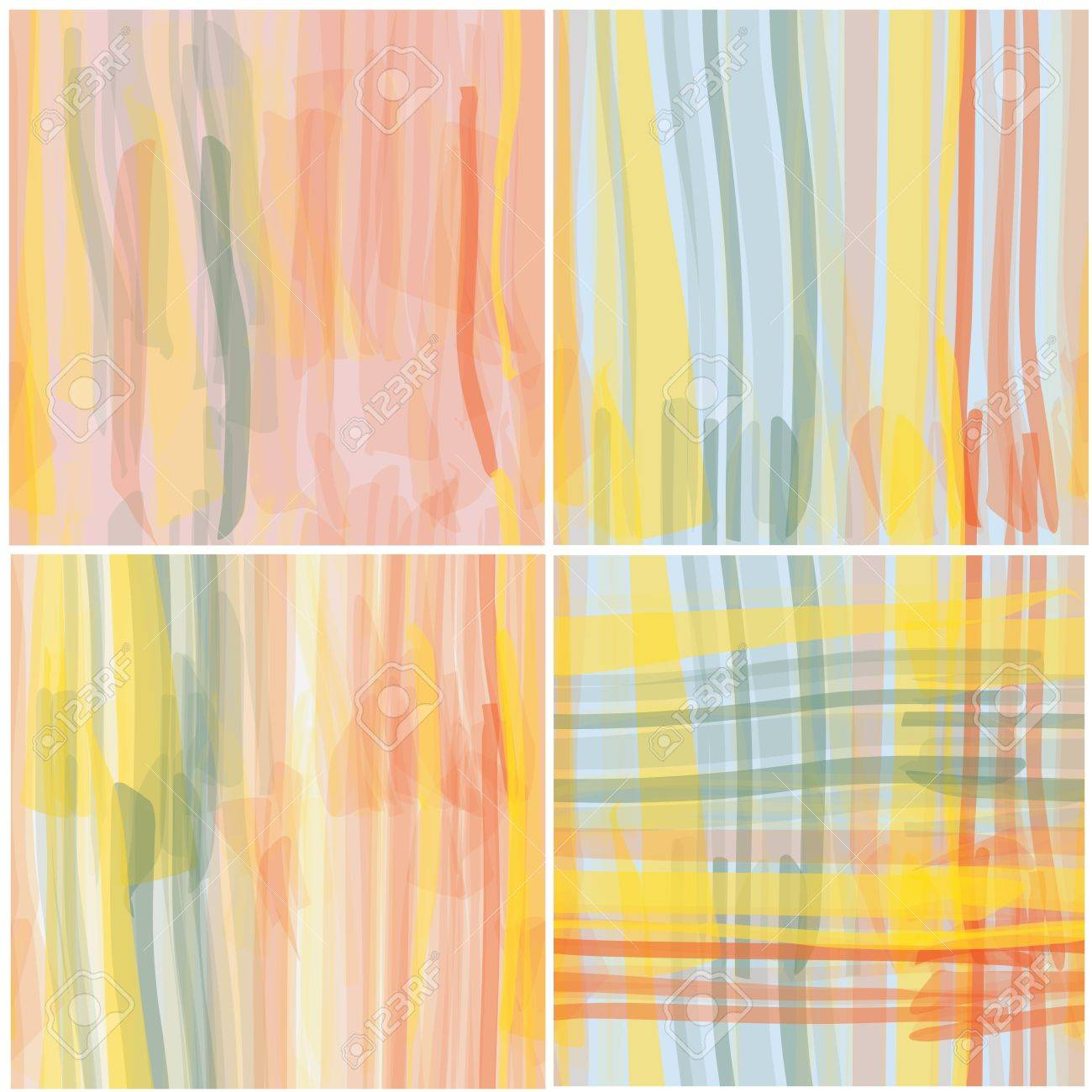 Watercolor grunge striped seamless patterns vector set Stock Vector - 13558556