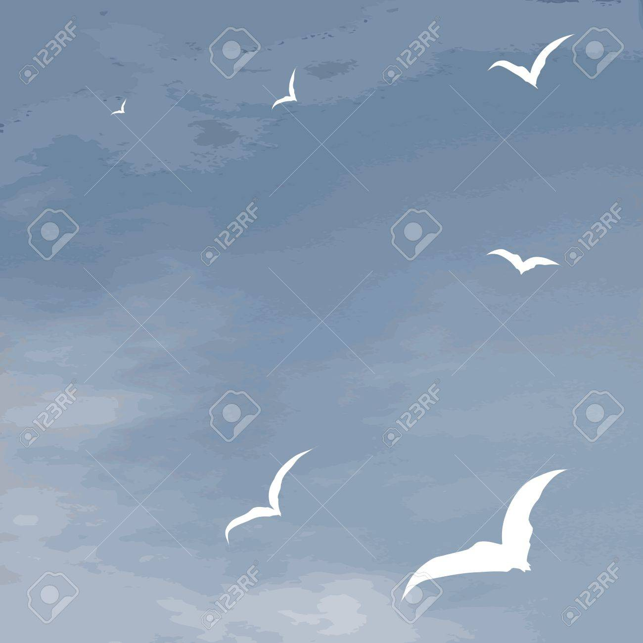Vector background sea surface and hover seagulls Stock Vector - 14127279