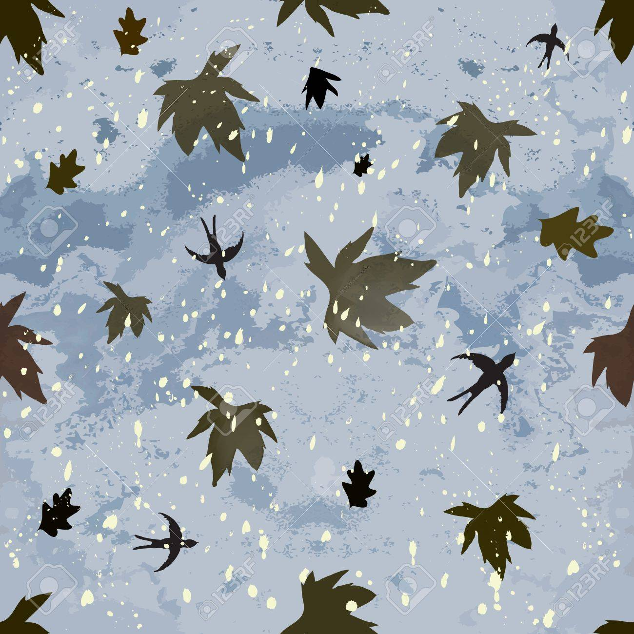 Autumnal seamless composition with dark cloudy sky,leaf fall,hovering swallows and snowfall Stock Vector - 14991774