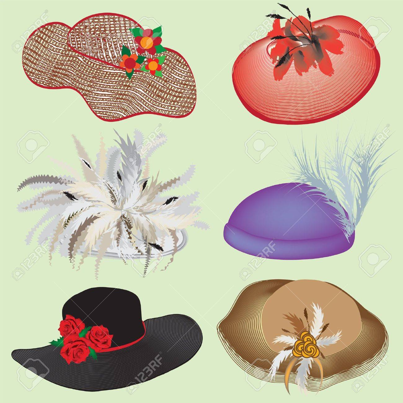 Collection of stylish hats with feathers and flowers for woman - 15077999