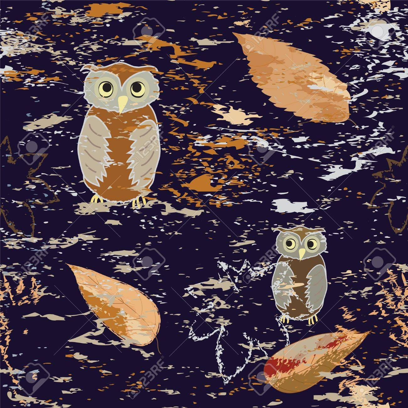 Seamless pattern with owls and leaf fall on grunge dark background Stock Vector - 15861028