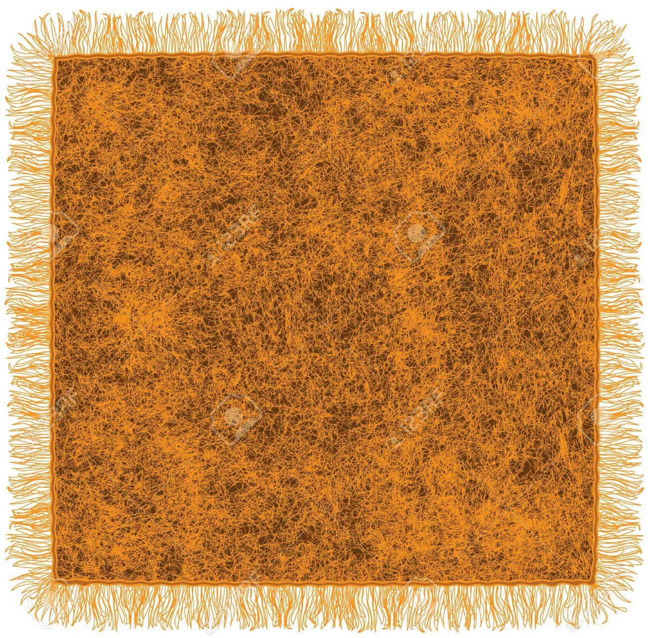 Woollen blanket with fringe in orange and brown colors Stock Vector - 16329529