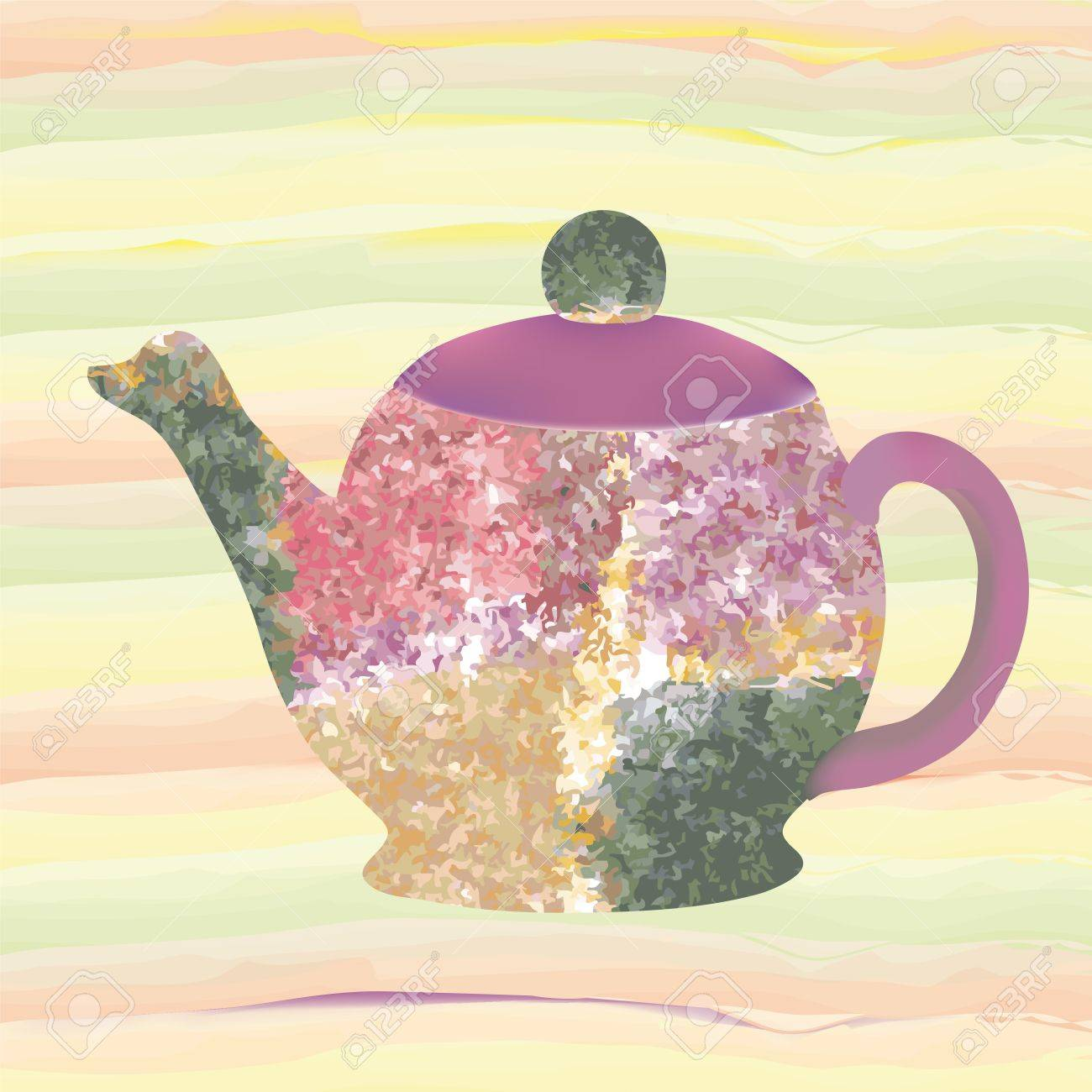 Teapot with decorative grunge stained pattern isolated on seamless striped colorful background Stock Vector - 16750224
