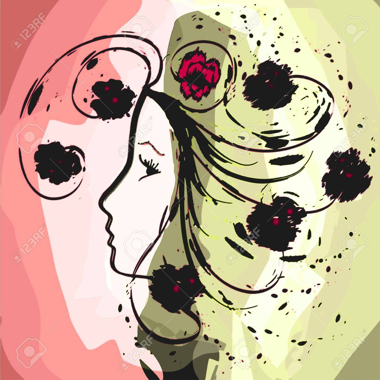Girl profile in grunge floral watercolor design Stock Vector - 17420252