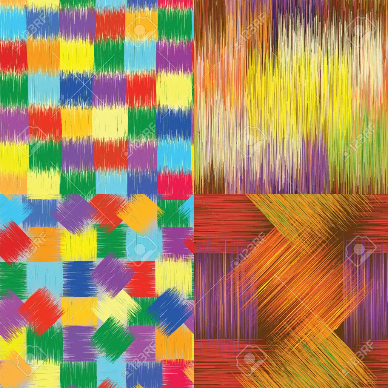 Set of grunge striped ,checkered and stained seamless patterns Stock Vector - 18732005