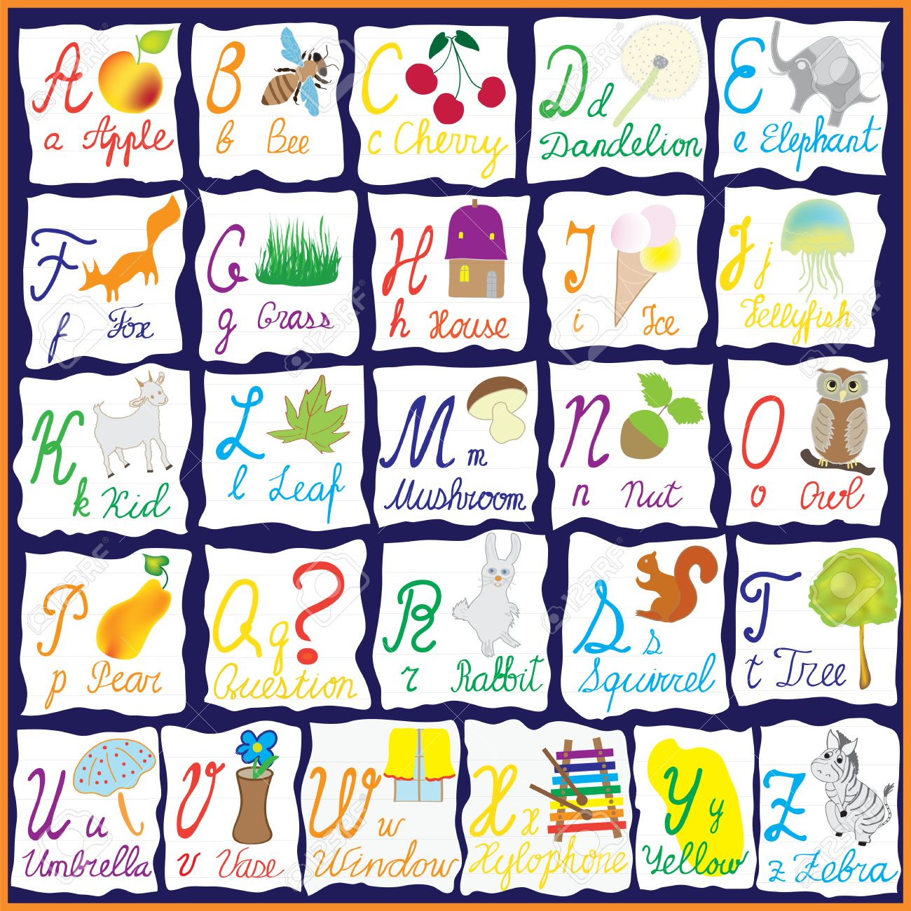 english colorful alphabet with letterswords and pictures isolated on scraps of notebook paper stock