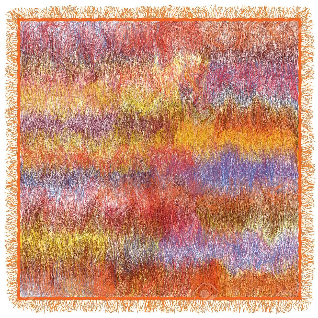 Flauschiger Teppich Mit Weben Grunge Gestreift Wellige Bunte Muster