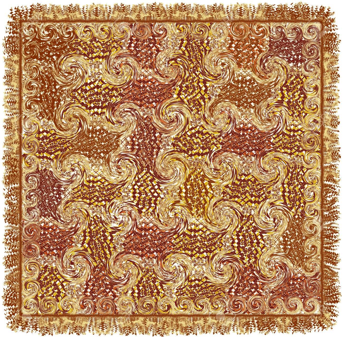 Platz Teppich Mit Grunge Gestreift Gewirbelt Muster In Braun, Gelb, Weiß  Farben Und Fransen