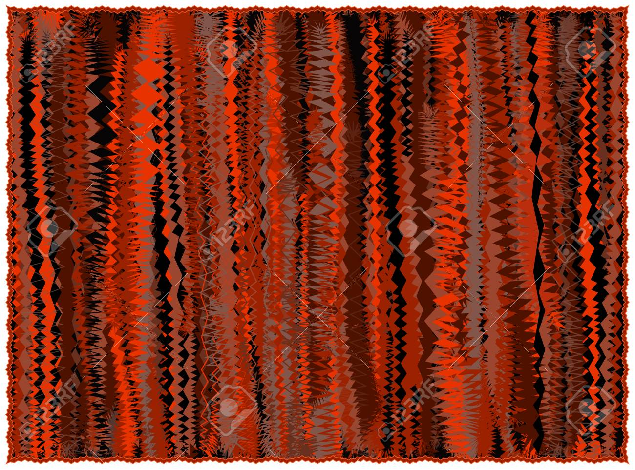 Grunge Striped Rug In Orange Brown Black Colors With Fringe Isolated