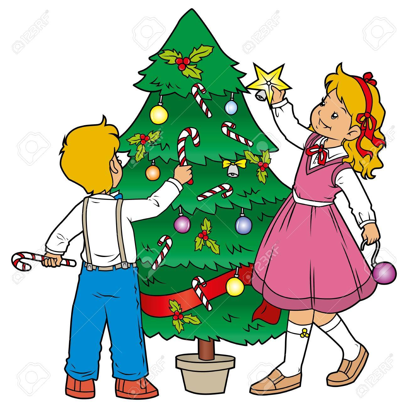 Decorating christmas tree Stock Vector - 15825883