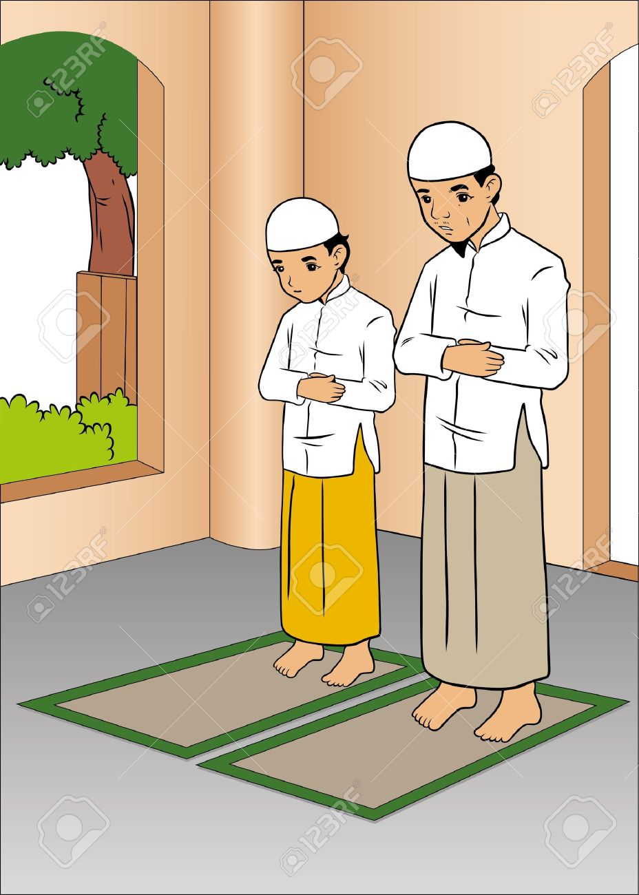 Father and son praying in mosque Stock Vector - 16443256