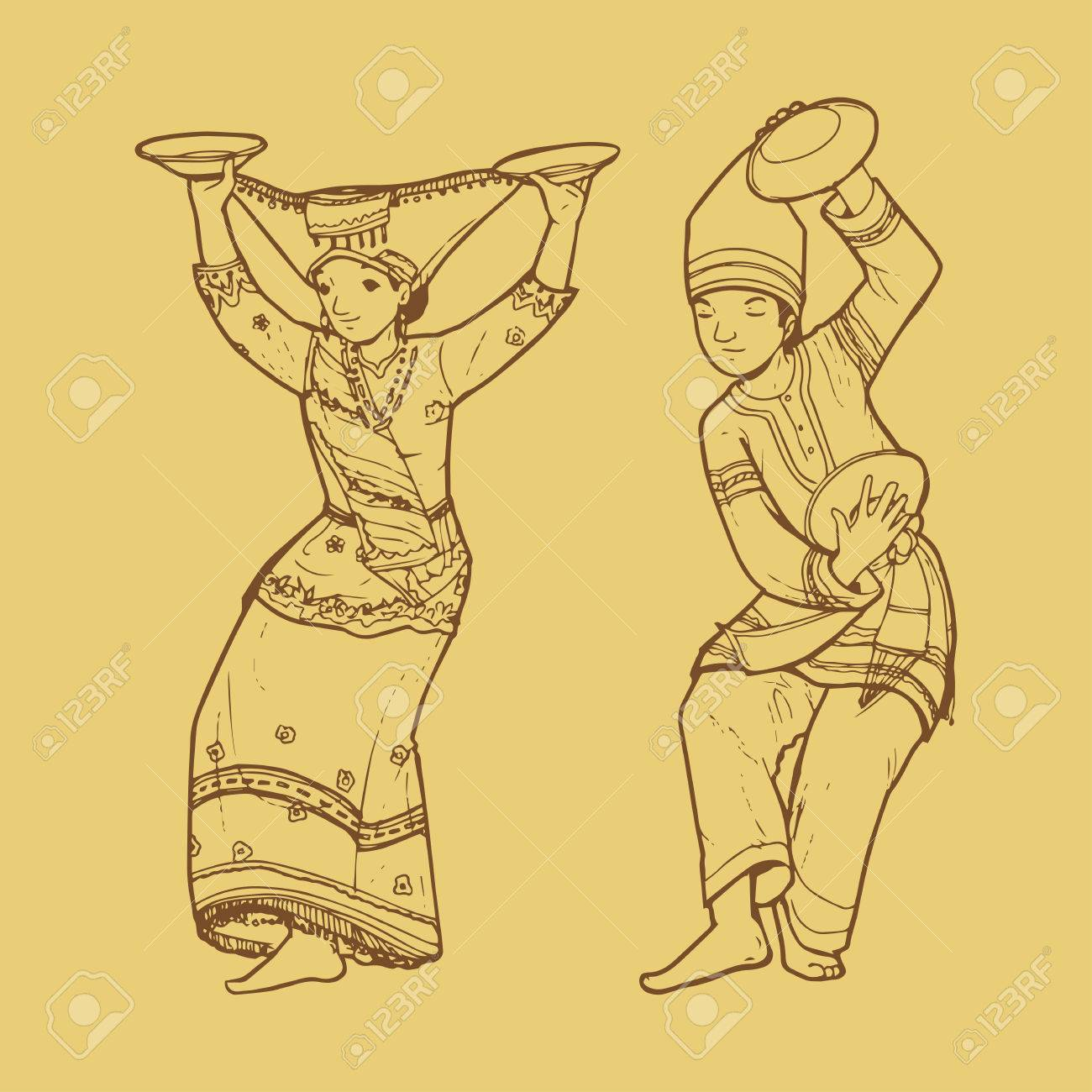 Line Art Illustration Of Traditional West Sumatra Indonesian