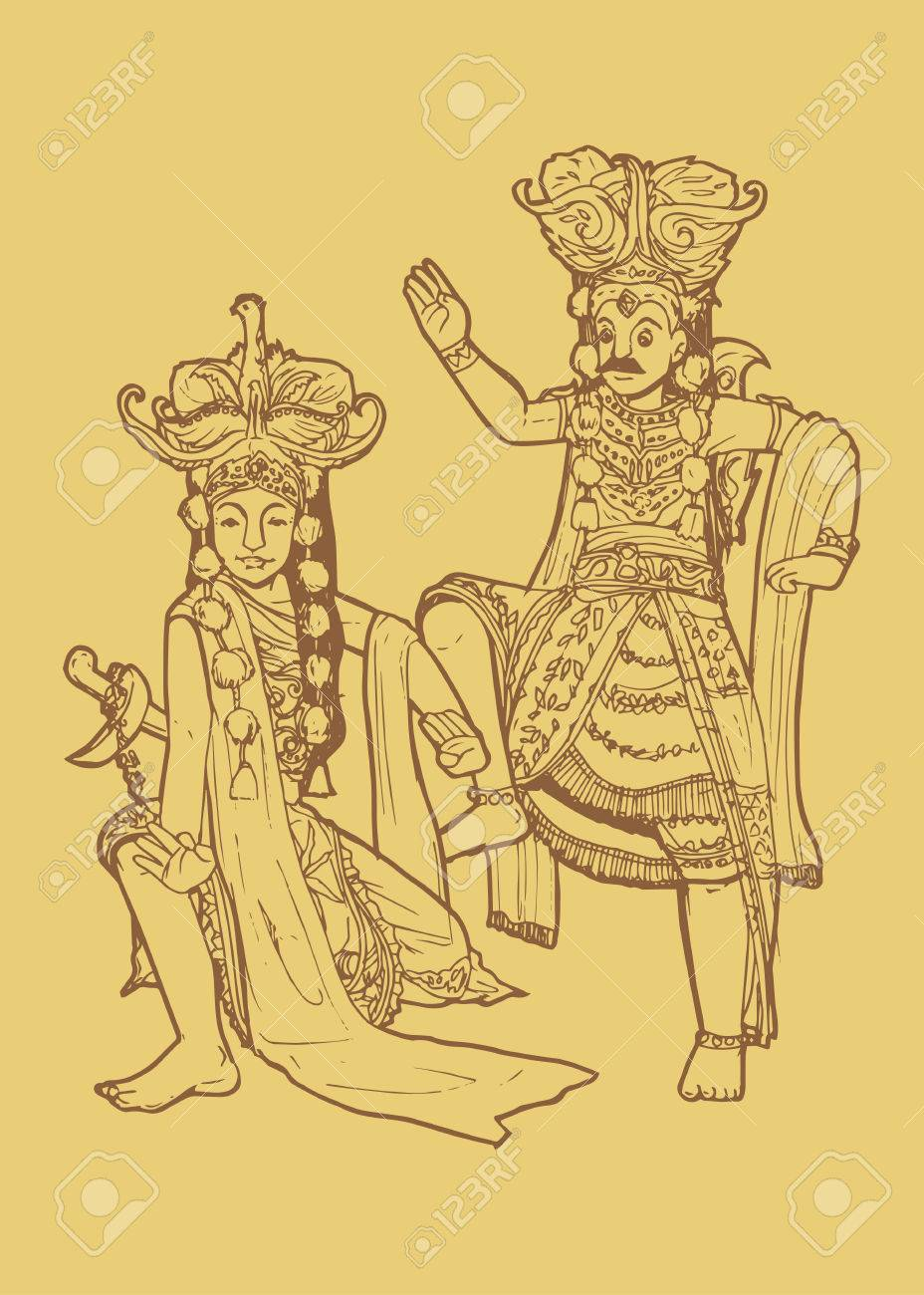 Line art illustration of traditional east java indonesian dance tari topeng or mask dancing stock vector