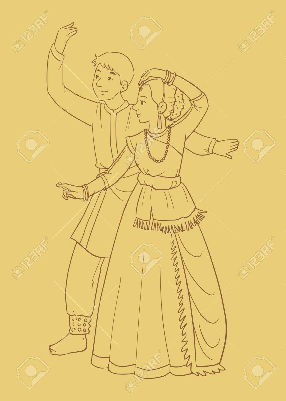 An Illustration Of A Couple Indian Dance Kathak Royalty Free Cliparts Vectors And Stock Illustration Image 84892545