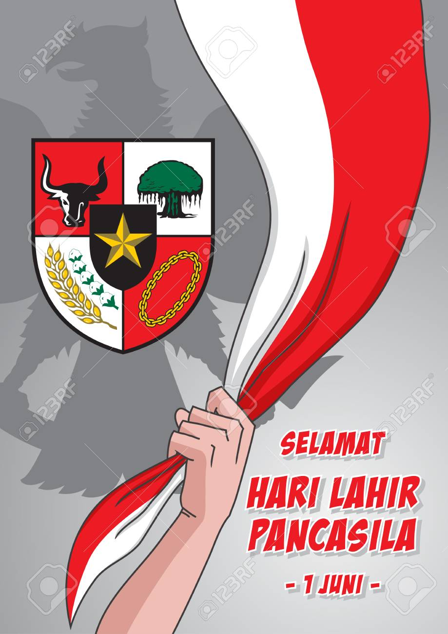 An Illustration Of Man Hold Indonesian Flag With Pancasila Symbol