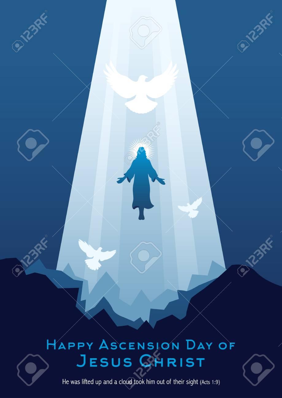 An illustration of the ascension of Jesus Christ - 123161209