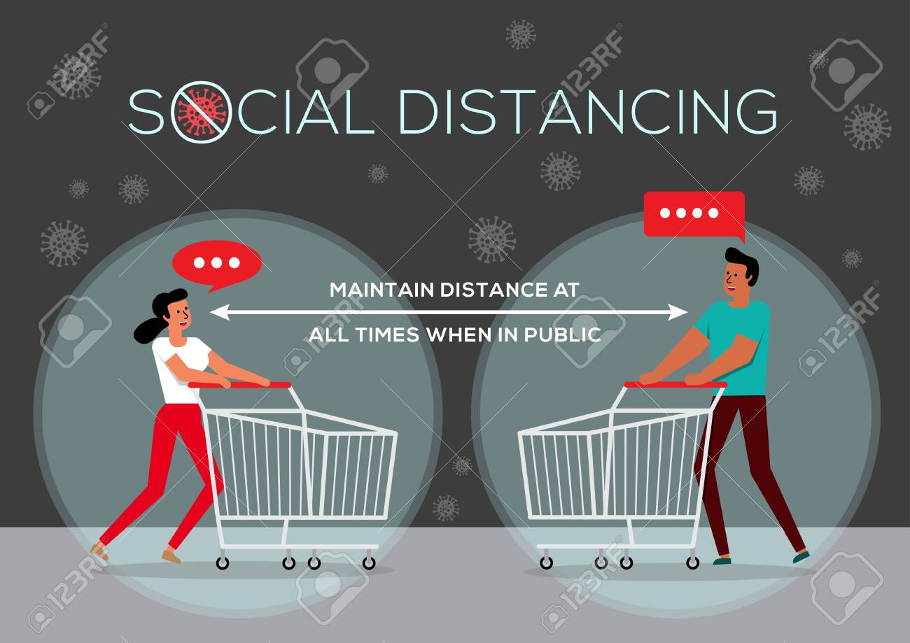 An illustration of People in Queue, Social Distancing Concept - 143753514