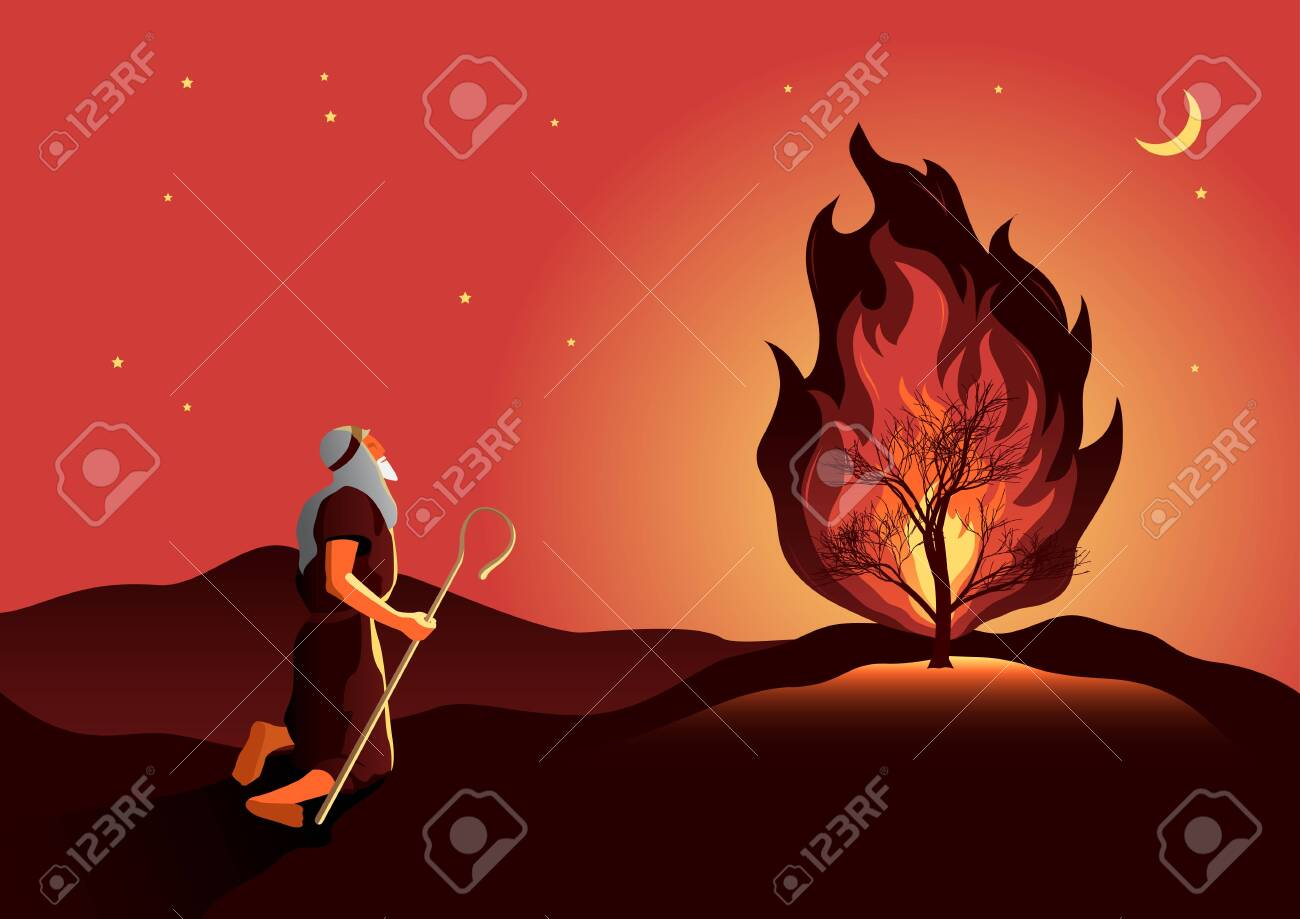 An illustration of Moses and the burning bush. Biblical series - 155275548