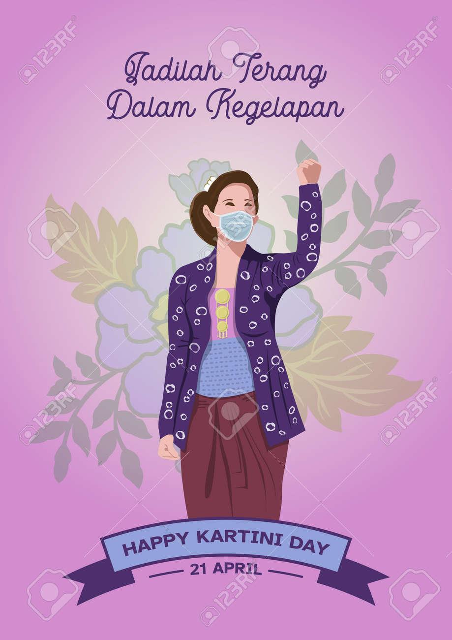 An illustration of Kartini Day Celebration. Habis gelap terbitlah terang means After Darkness comes Light - 164242304