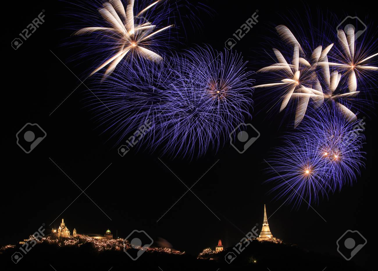 Colorful fireworks on the black sky background Stock Photo - 18993187