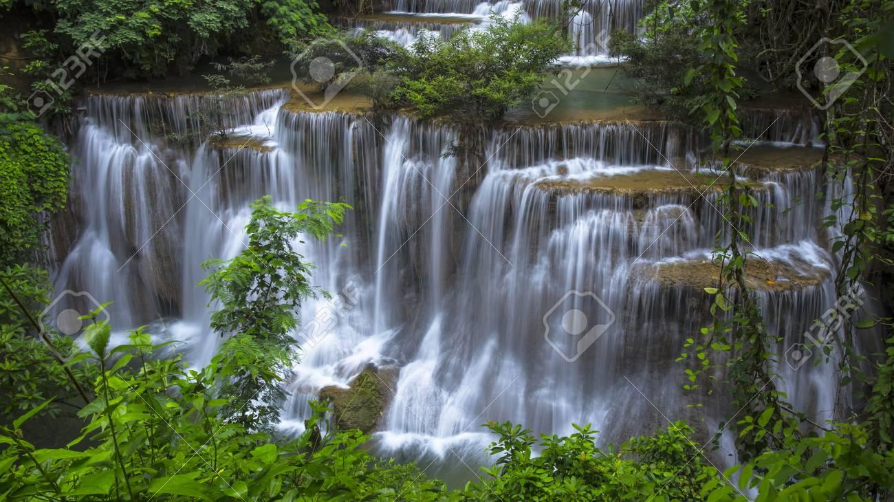 Beautiful Scenery Huay Mae Kamin Waterfall National Park Kanchanaburi ProvinceThailand Stock Photo