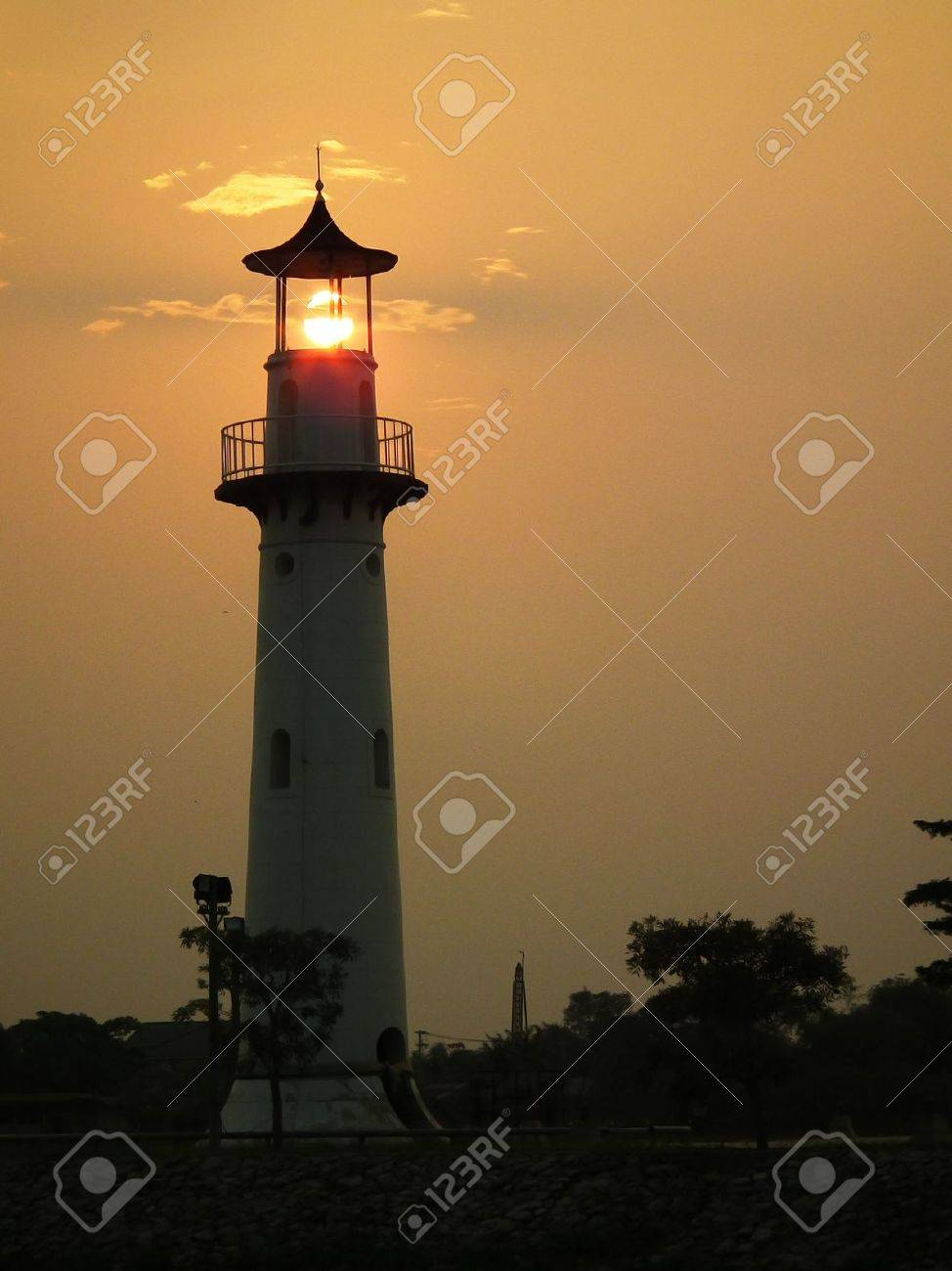 illustration of Lighthouse on sunset Stock Photo - 12719178