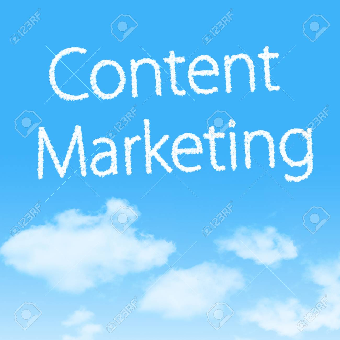 Content Marketing cloud icon with design on blue sky background Stock Photo - 27242467