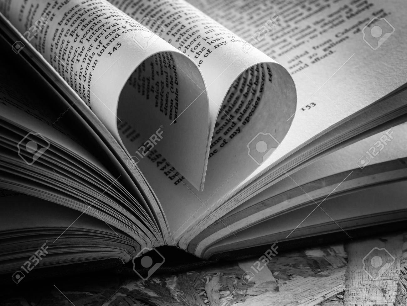 Black And White Love Heart In A Book Stock Photo