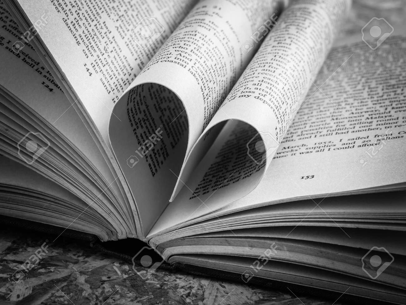 Black and white love heart in a book stock photo 36780306