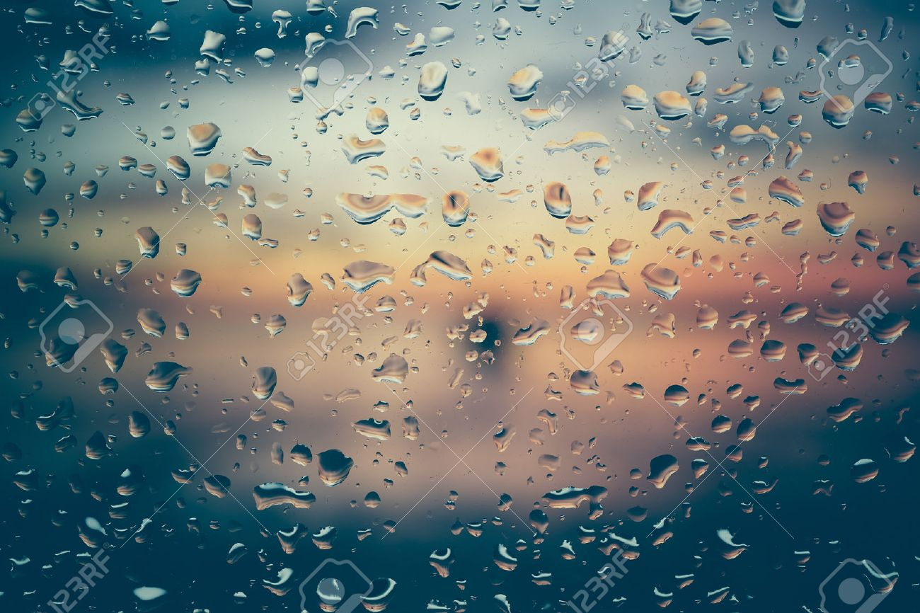 Drops of rain on glass with filter effect retro vintage style Stock Photo - 41809556