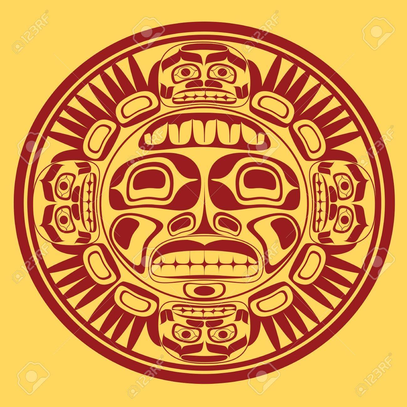 sun symbol, stylization of northwest art Stock Vector - 16803704