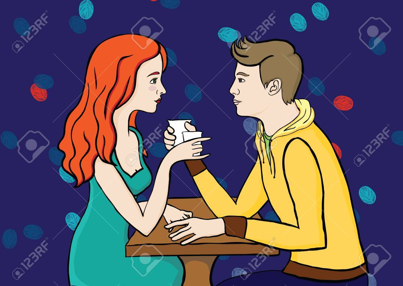 couple in caffee Stock Vector - 16803711