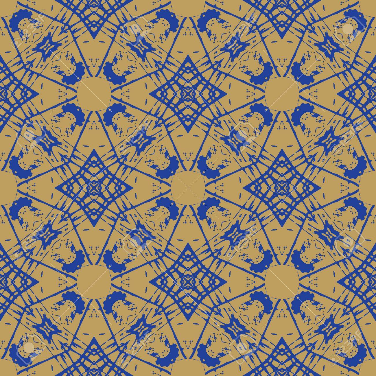 blue ornament on beige, geometric wallpaper, clean design, seamless linear pattern, website background or textile, or wrapping paper Stock Vector - 17173773