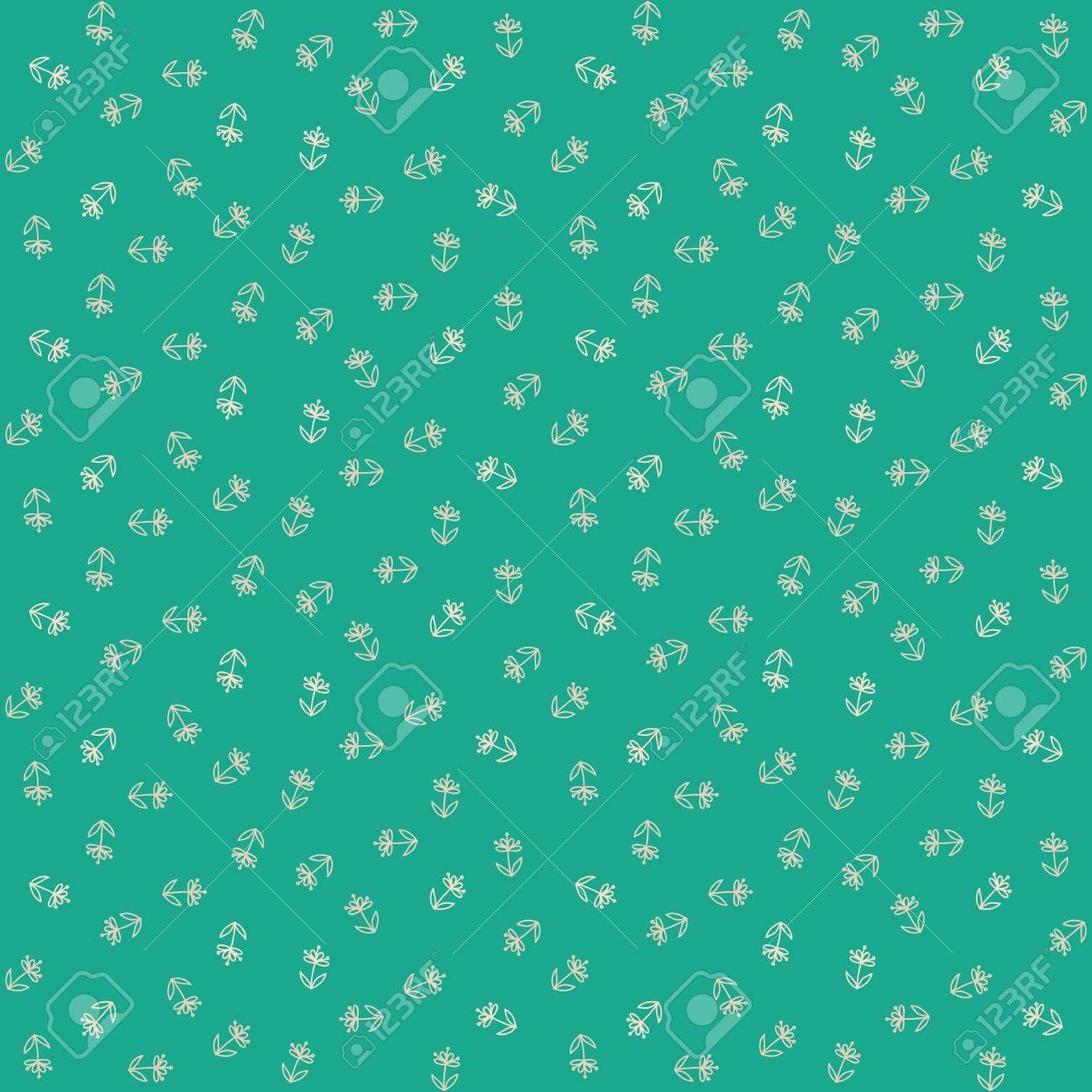 Vecteur Seamless Avec Des Petites Fleurs Blanches Sur Fond Vert