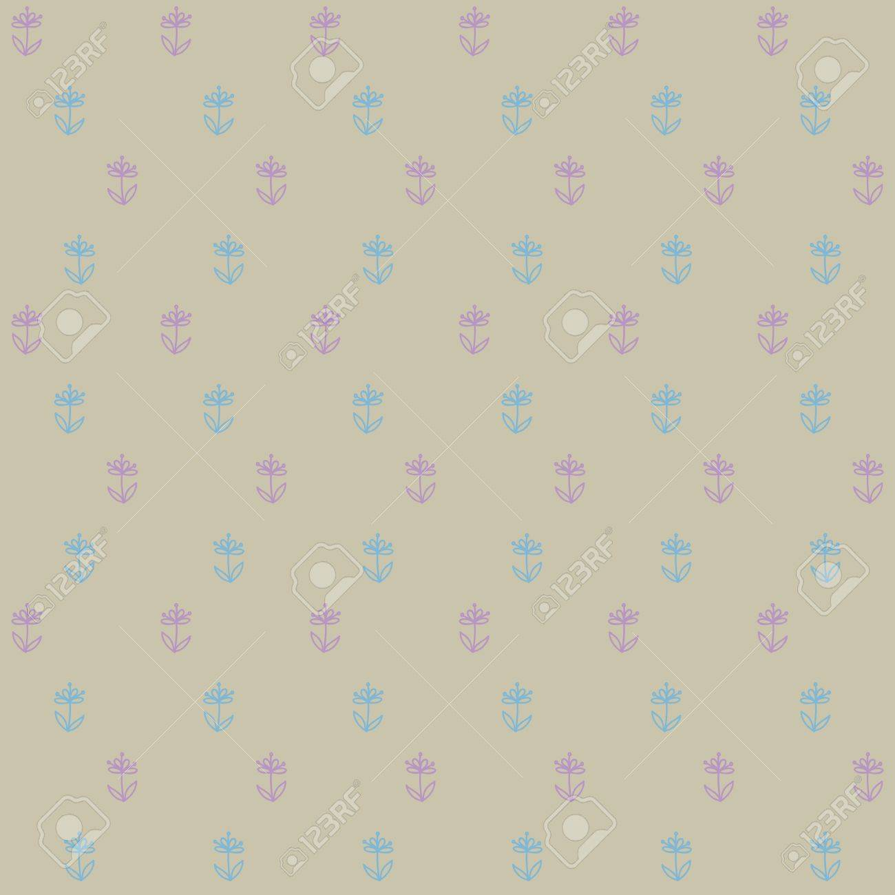 seamless pattern of little blue flowers on brown field, vintage wallpaper, seamless texture or retro textile Stock Photo - 17173762