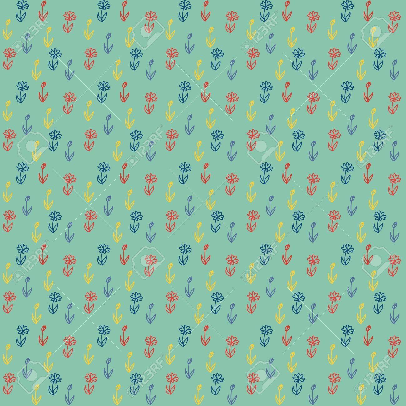 Seamless Pattern Avec Des Petites Fleurs Colorees Sur Fond Vert