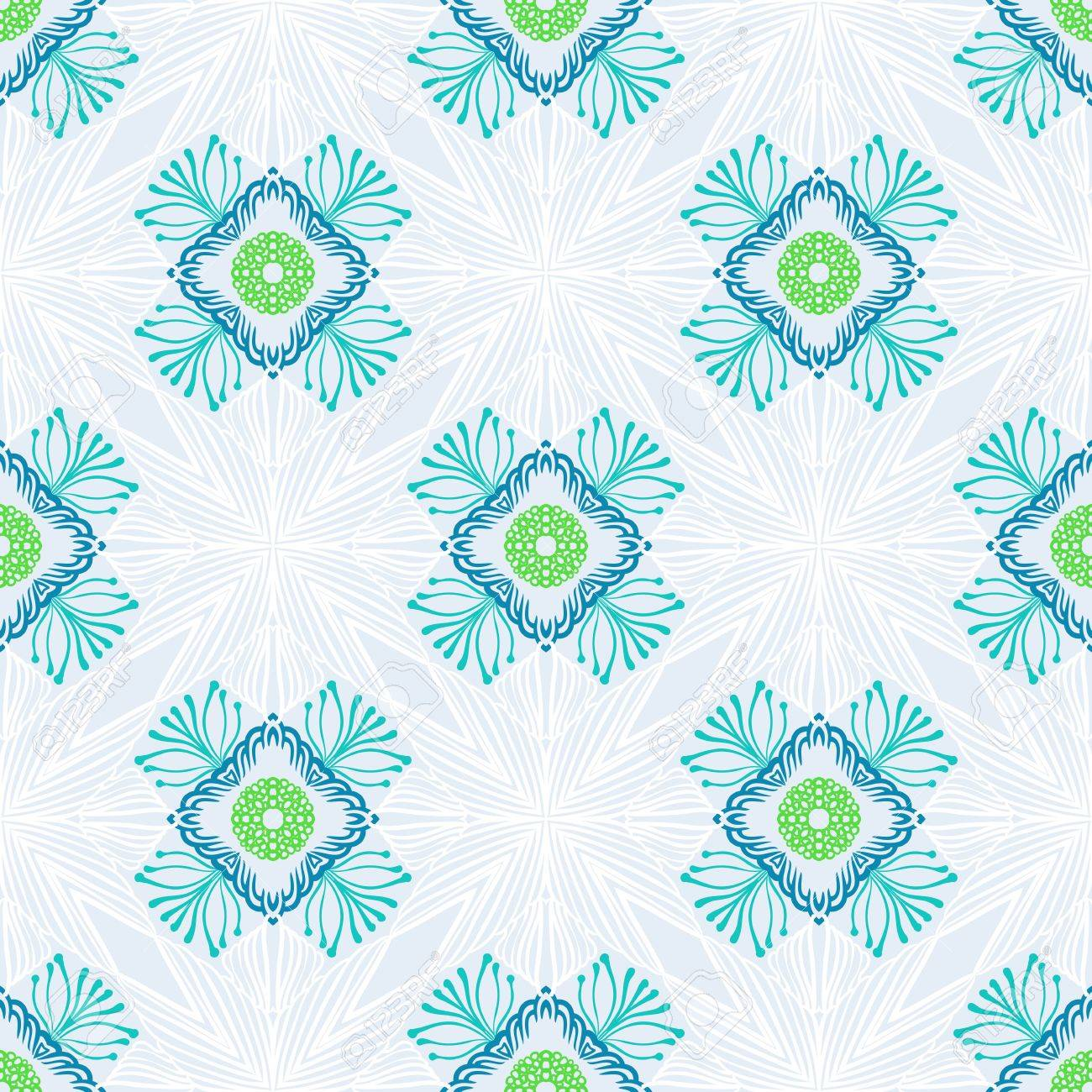 Simple Floral Geometric Seamless Vector Texture Background For