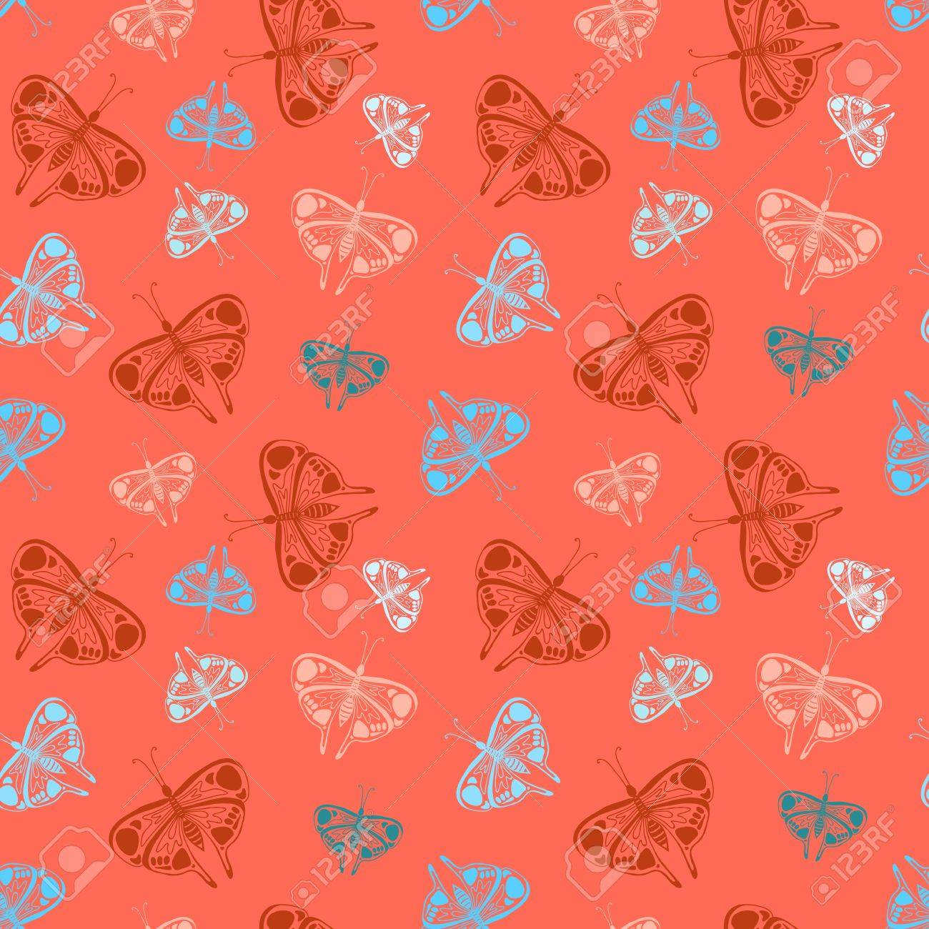 Background For Children Room Decor Holiday Wrap Seamless Pattern With Colorful Butterflies Of Random Size On Red Texture Web Print