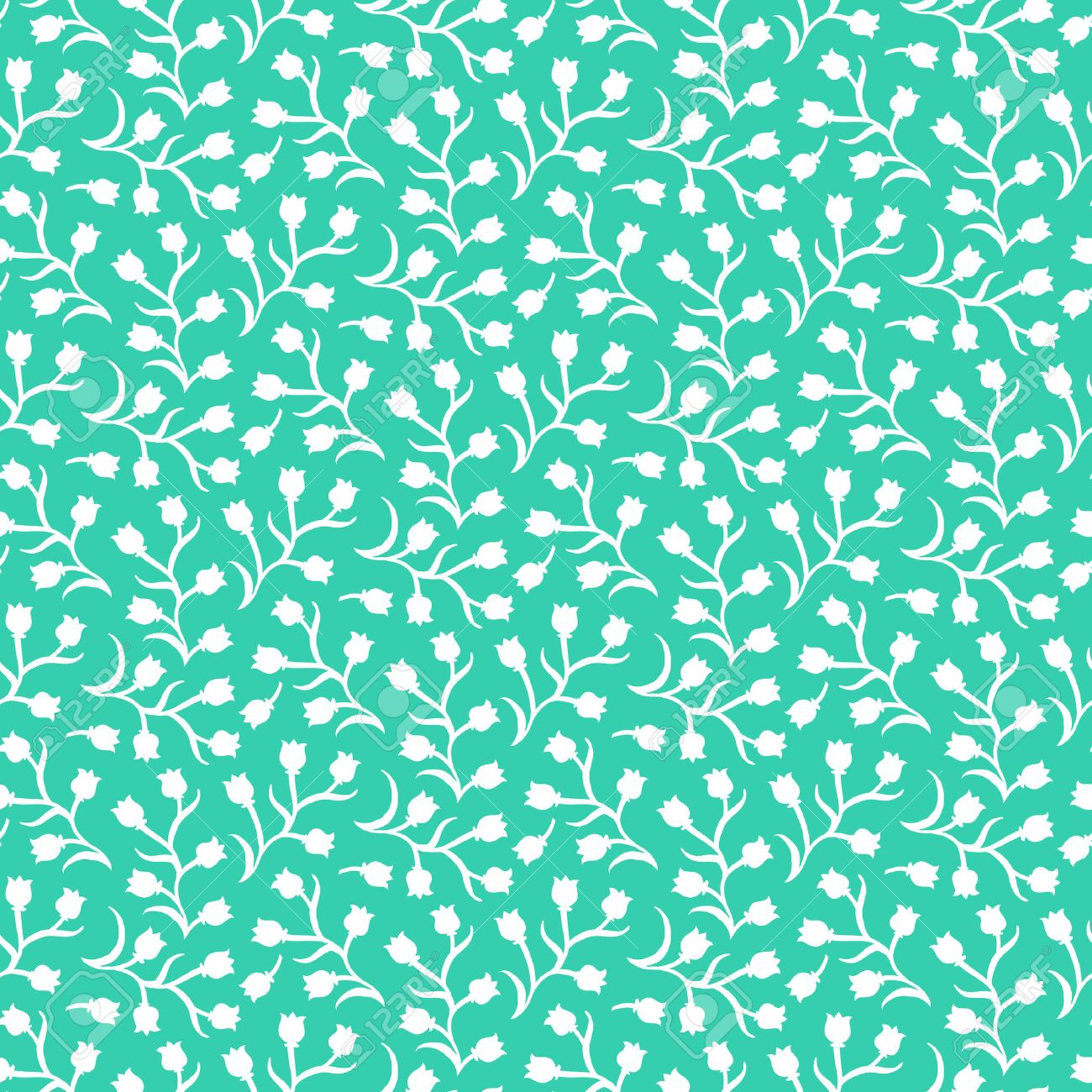 Ditsy Floral Pattern With Small White Tulips On Aqua Green