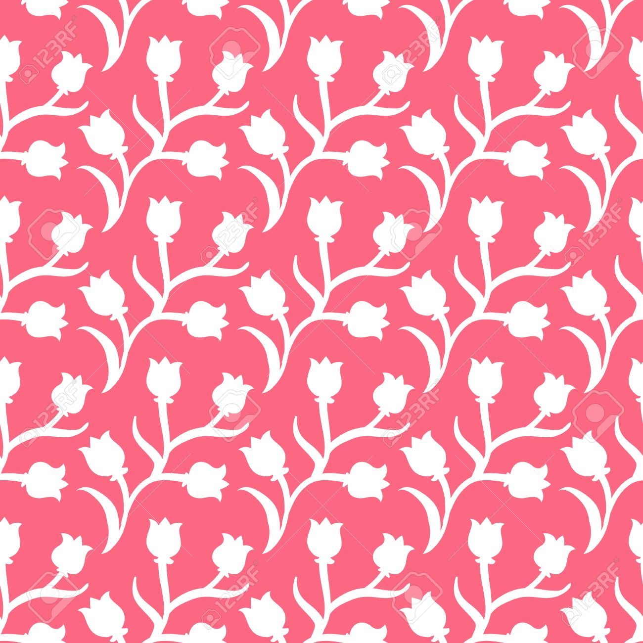 Ditsy Floral Pattern With Small White Tulips On Tropical Pink