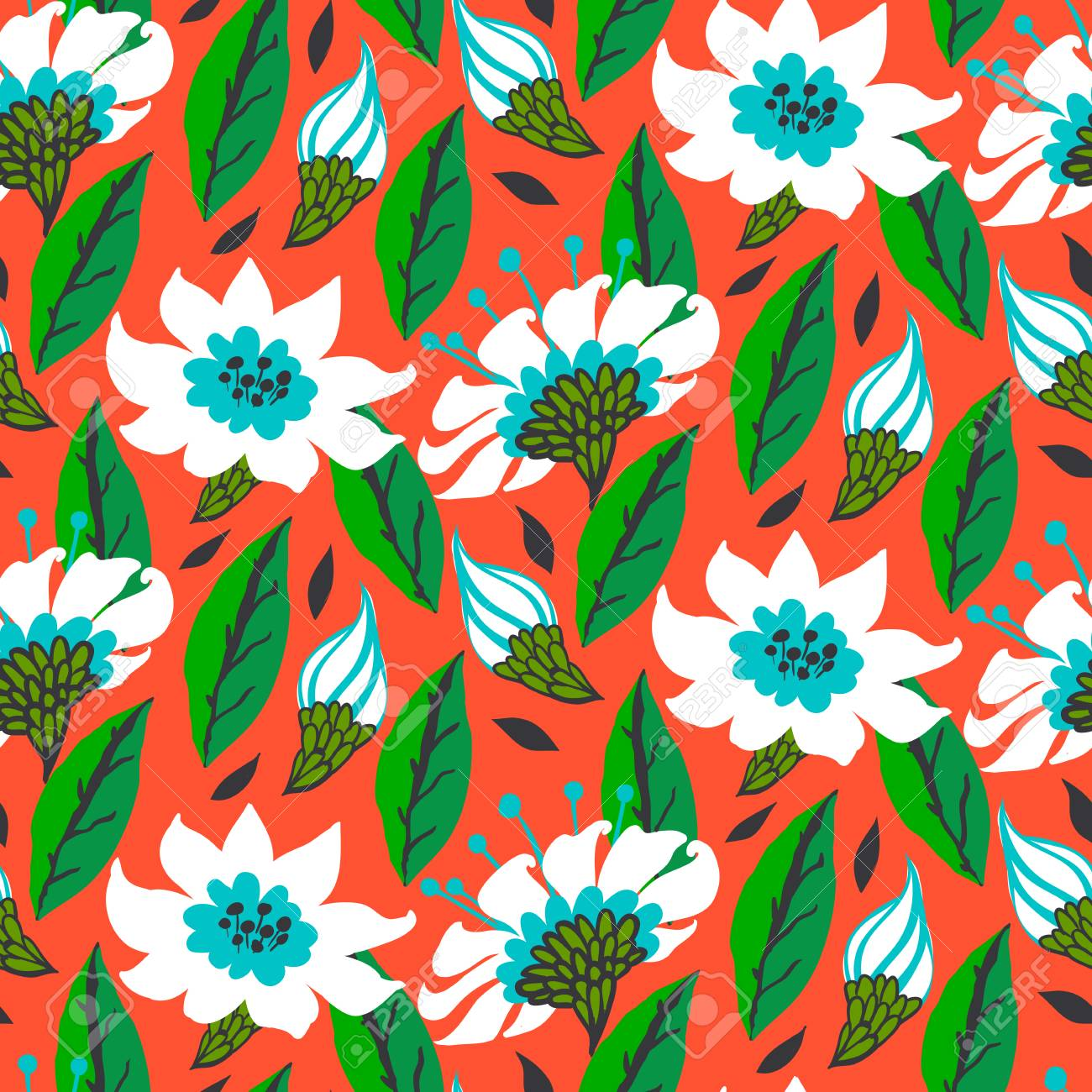 Vector seamless floral pattern with daisy flowers on bright red. Stock Vector - 25188068