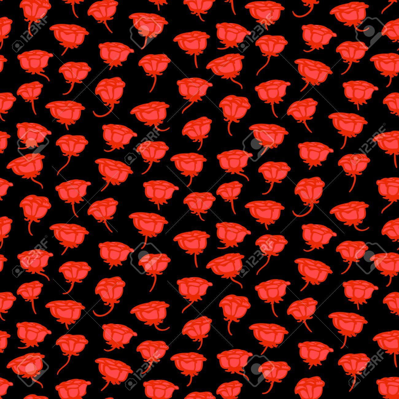 手描きのバラ赤黒の上でグランジ花柄 Web 印刷 繊維 ファブリック